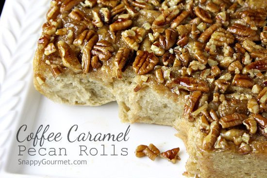 Coffee Caramel Pecan Rolls, easy breakfast cinnamon roll recipe infused with coffee | SnappyGourmet.com