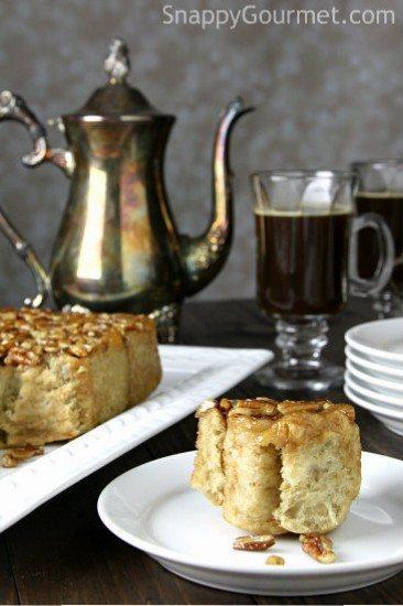 Coffee Caramel Pecan Rolls, easy breakfast cinnamon roll recipe infused with coffee | SnappyGourmet.com