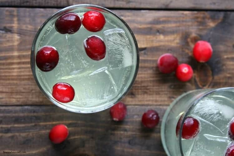 Cranberry Limoncello Spritzer Cocktail Recipe - Easy holiday cocktail and how to make a spritzer. SnappyGourmet.com