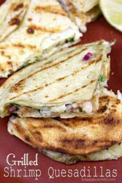 Grilled Shrimp Quesadillas Recipe - easy shrimp quesadilla for a quick dinner! SnappyGourmet.com