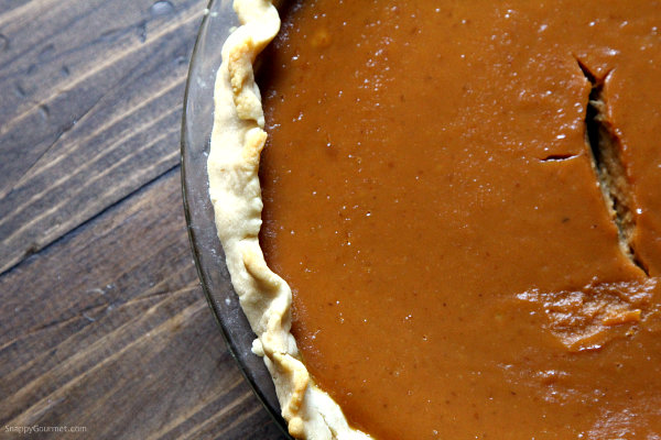 Irish Cream Pumpkin Pie - easy pumpkin pie recipe with Salted Caramel Irish Cream. Best Thanksgiving dessert! SnappyGourmet.com