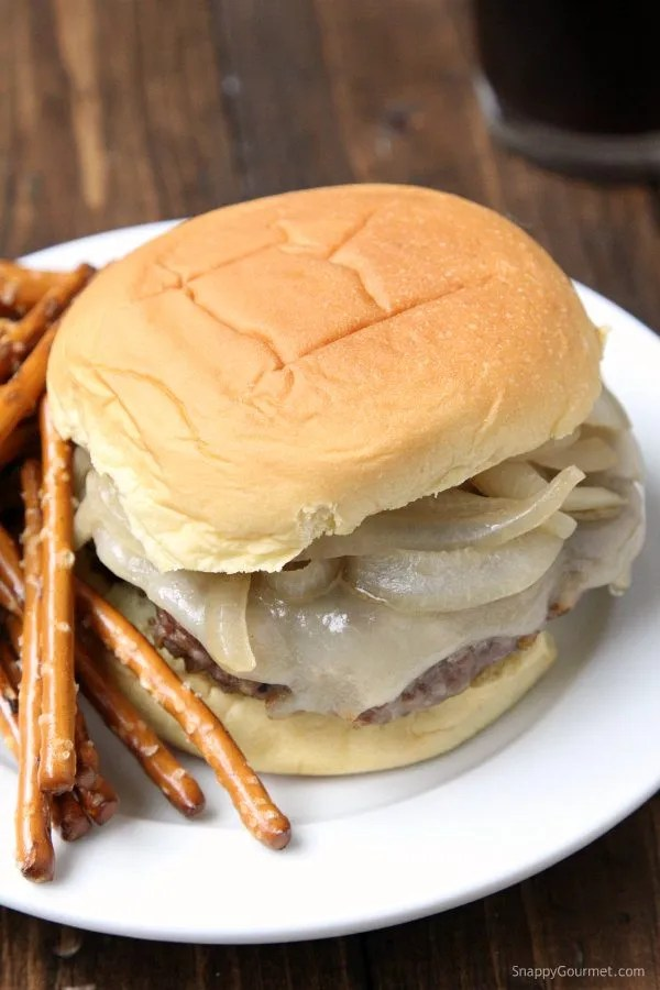 Oktoberfest Burger - an easy burger recipe with pork (or chicken), beer, mustard, pretzels, and onions. SnappyGourmet.com