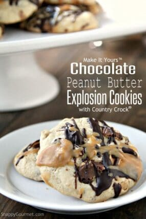 Chocolate Peanut Butter Explosion Cookies Recipe - easy chocolate and peanut butter cookie! SnappyGourmet.com