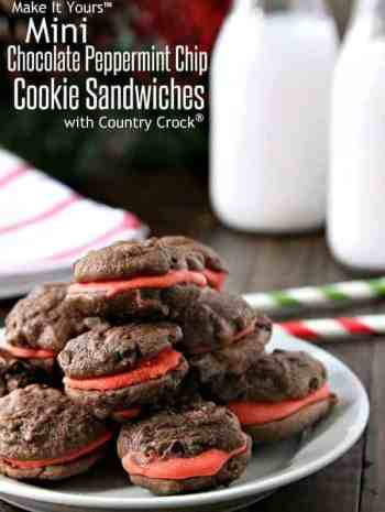 Mini Chocolate Peppermint Chip Cookie Sandwiches Recipe - easy holiday or Christmas cookie! SnappyGourmet.com