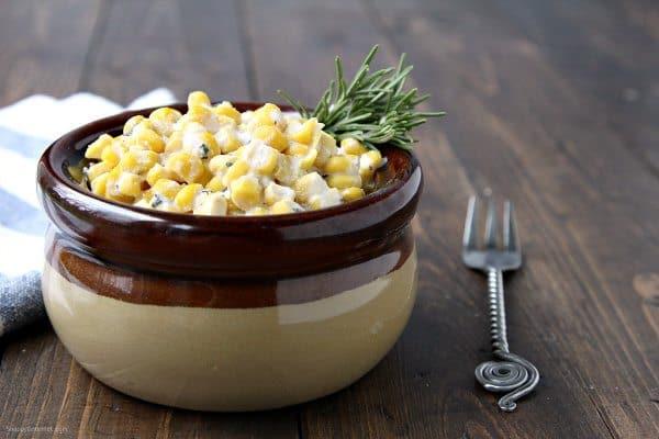 Rosemary Ricotta Corn - easy side dish recipe ready in minutes! SnappyGourmet.com