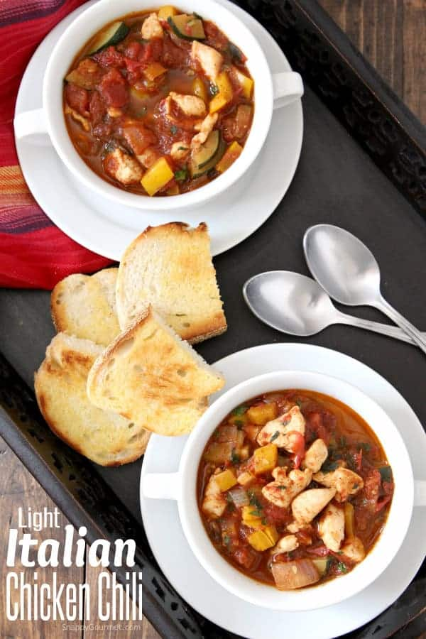 Light Italian Chicken Chili recipe, a fun and easy Italian twist on chili with lots of fresh vegetables! SnappyGourmet.com