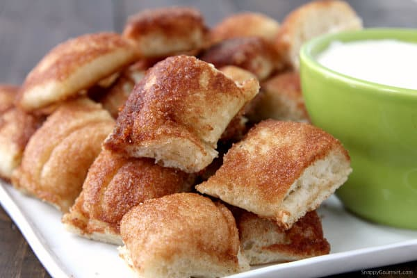 Cinnamon Breadstick Bites with Cream Cheese Frosting Dip - easy and fun snack or special breakfast or brunch idea! SnappyGourmet.com