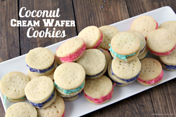 Coconut Cream Wafer Cookies - homemade cookie recipe perfect for Easter! SnappyGourmet.com