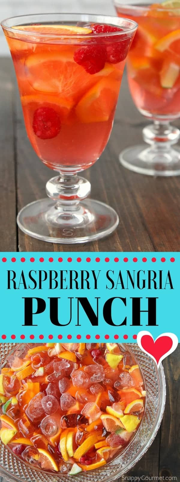 Raspberry Sangria Punch Recipe - best drink for a party or crowd with lots of fresh fruit