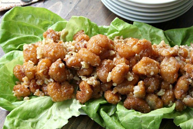 Easy Honey Walnut Popcorn Shrimp Recipe - Honey Glazed Walnut Shrimp Recipe for a crowd! SnappyGourmet.com