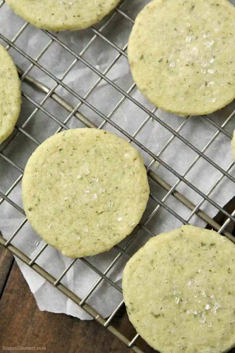 Mojito Cookies Recipe - rum, mint and lime shortbread cookie recipe. SnappyGourmet.com