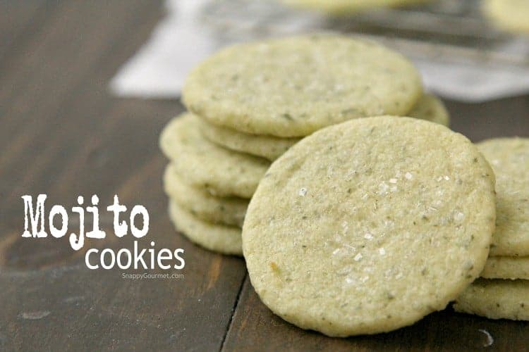Mojito Cookies Recipe - easy from scratch shortbread cookie with lime, mint, and rum just like a mojito cocktail! SnappyGourmet.com