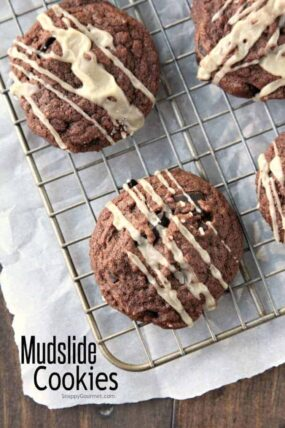 Mudslide Cookies Recipe - an easy brownie cookie recipe just like a Mudslide cocktail with Kahlua and Irish Cream. SnappyGourmet.com