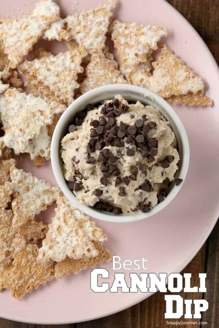 homemade cannoli dip in bowl next to cannoli chips