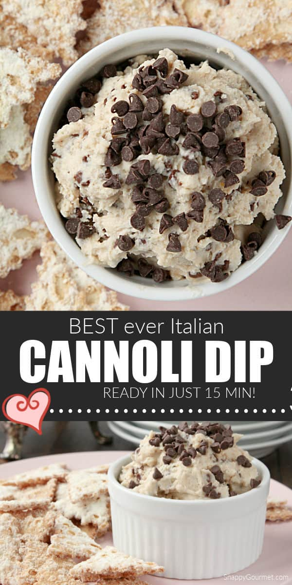 collage of homemade cannoli dip