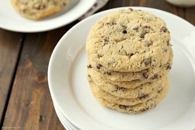 Almond Flour Chocolate Chip Cookies Recipe (stacked cookies)