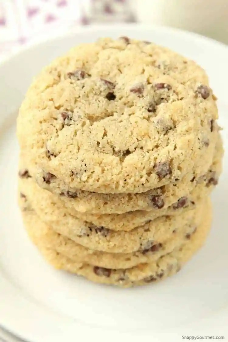 Almond Flour Chocolate Chip Cookies Recipe (closeup stacked cookies)