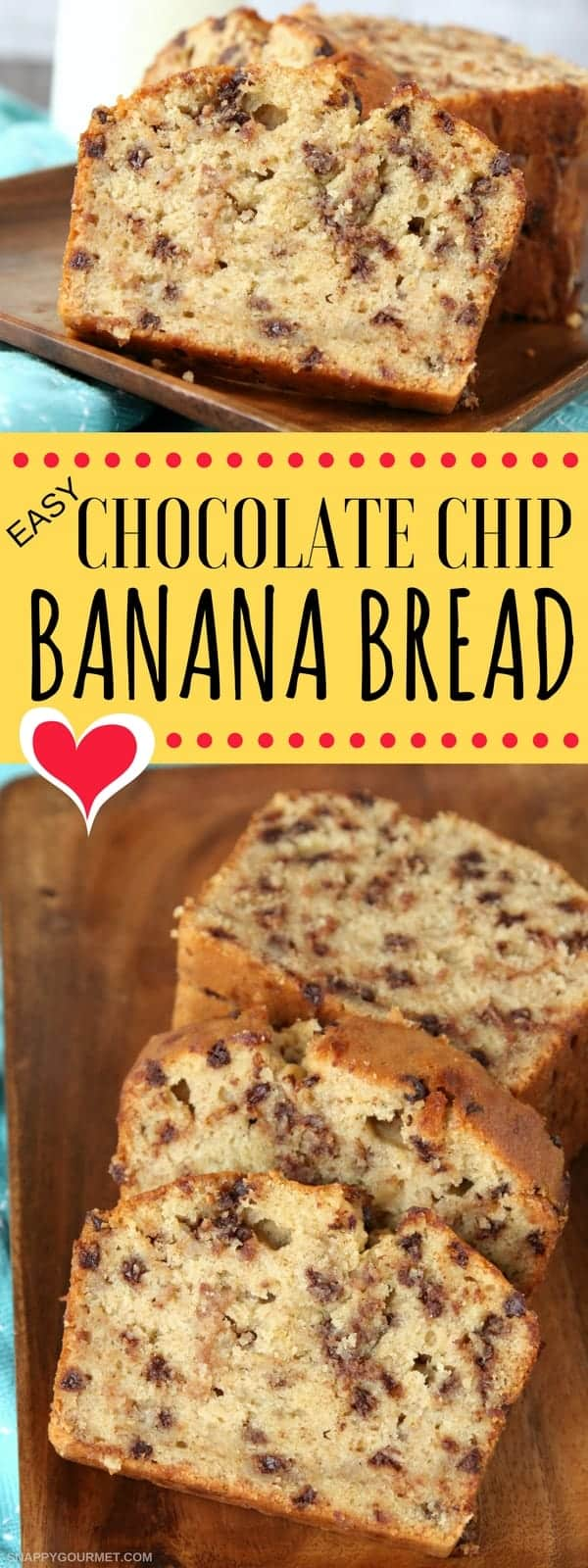 Easy Chocolate Chip Banana Bread Pin Collage