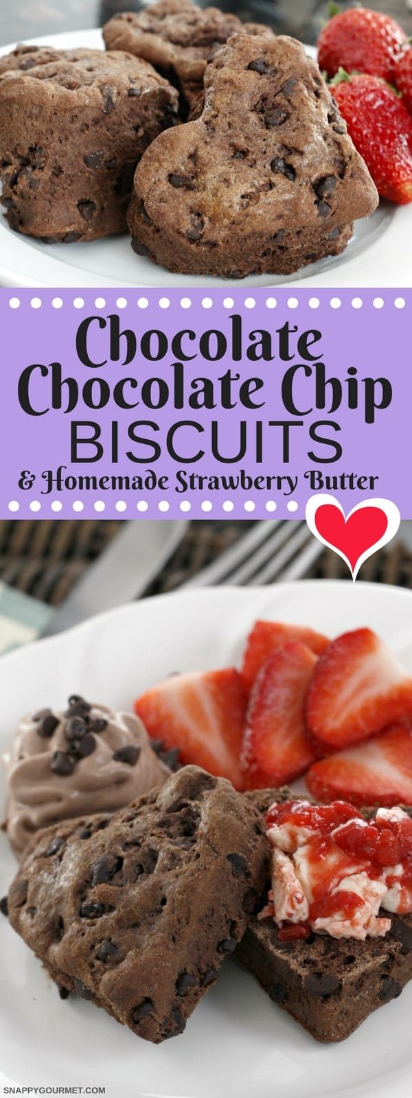 Chocolate Chocolate Chip Biscuits recipe - an easy from scratch biscuit recipe with a homemade strawberry butter.