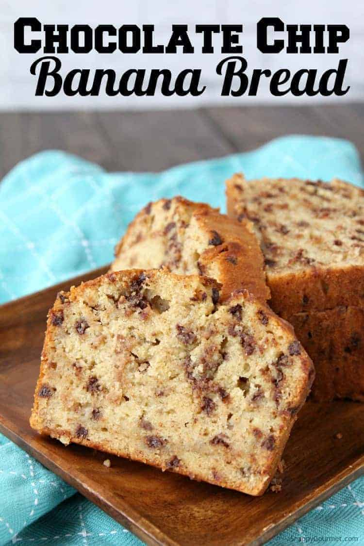 Easy Chocolate Chip Banana Bread Recipe - How to make an easy one bowl homemade moist banana bread with chocolate chips