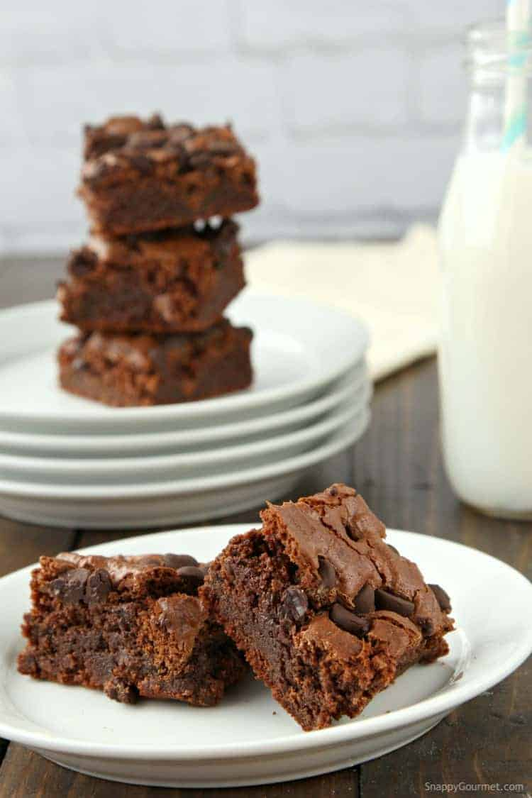 Almond Flour Brownies Recipe - homemade chocolate brownies topped with chocolate chips