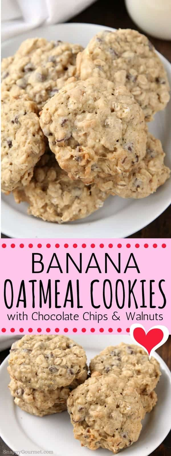 Banana Oatmeal Cookies with Chocolate Chips and Walnuts, an easy homemade oatmeal cookie recipe! These Banana Oatmeal Cookies are the best, crispy on the outside and soft and chewy on the inside loaded with banana, oats, chocolate chips, and nuts. #cookies #oatmeal #banana #SnappyGourmet #yummy #dessert #walnuts #chocolatechips #homemade
