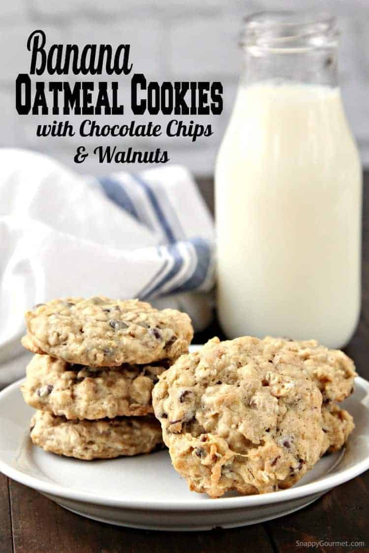 Banana Oatmeal Cookies Recipe with Chocolate Chips and Walnuts ...