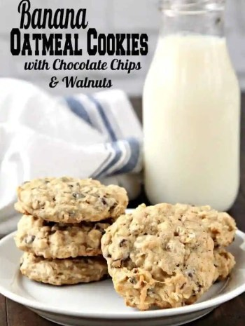 Banana Oatmeal Cookies Recipe with Chocolate Chips and Walnuts