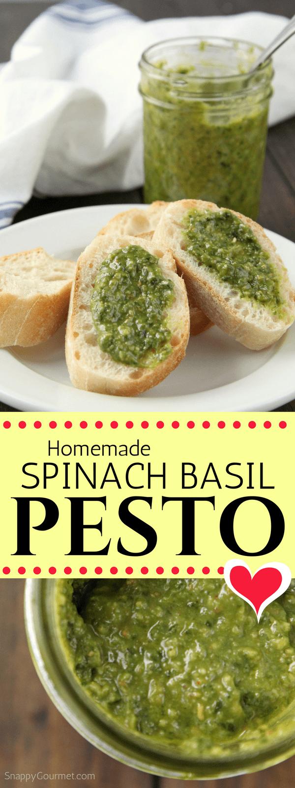 Homemade Spinach Basil Pesto Recipe - how to make homemade pesto in a blender of vitamix
