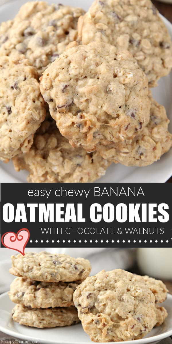 collage of homemade chewy banana oatmeal cookies