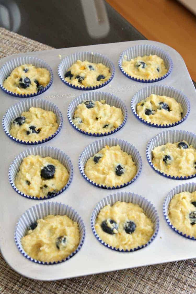Almond Flour Blueberry Muffins Recipe - blueberry muffins before baking
