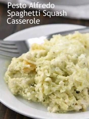 Pesto Alfredo Spaghetti Squash Casserole Recipe