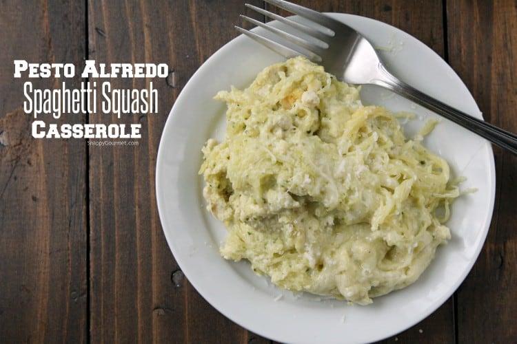 Pesto Alfredo Spaghetti Squash Casserole Recipe - low carb chicken casserole