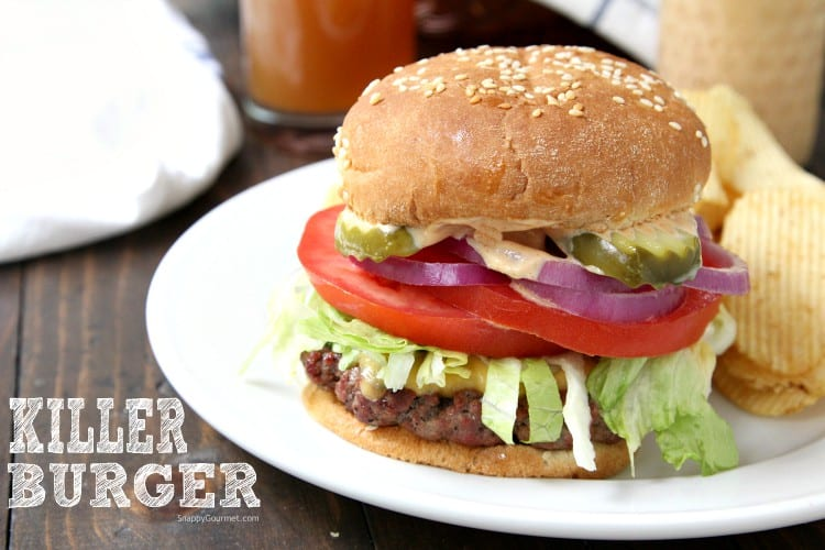 Killer Burger Recipe - Easy All American Burgers with secret sauce and toppings