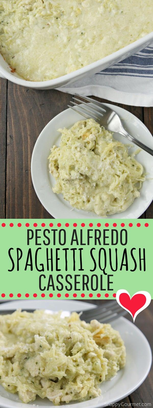 Pesto Alfredo Spaghetti Squash Casserole recipe - low carb casserole with alfredo sauce, basil pesto, and spaghetti squash