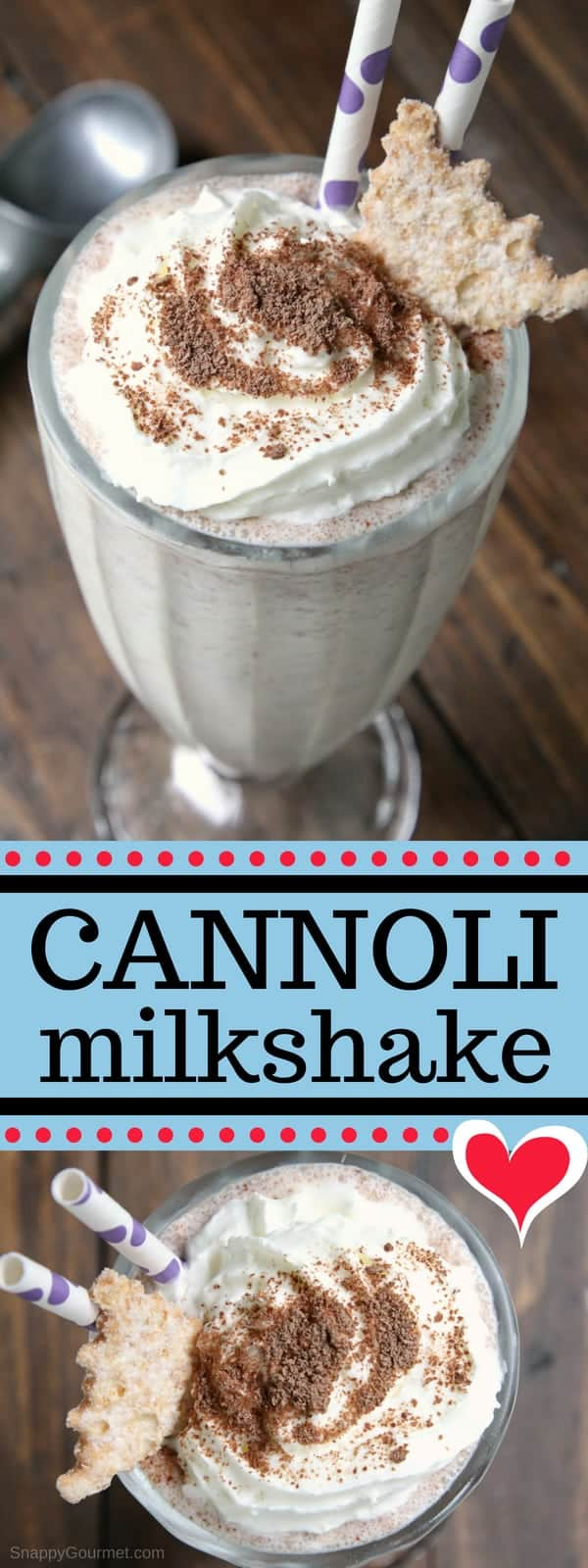 Homemade Cannoli Milkshake - fun milkshake recipe with vanilla, ricotta, orange, and chocolate! #SnappyGourmet #Milkshake #Dessert #Cannoli #Italian #Recipe #IceCream