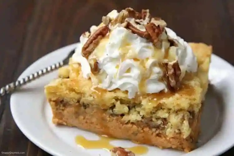 Pumpkin Dump Cake - pumpkin cake with nuts and a crumbly cake topping