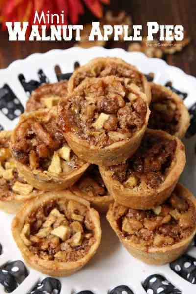 Mini Walnut Apple Pies - cinnamon apple pies baked in mini muffin pans