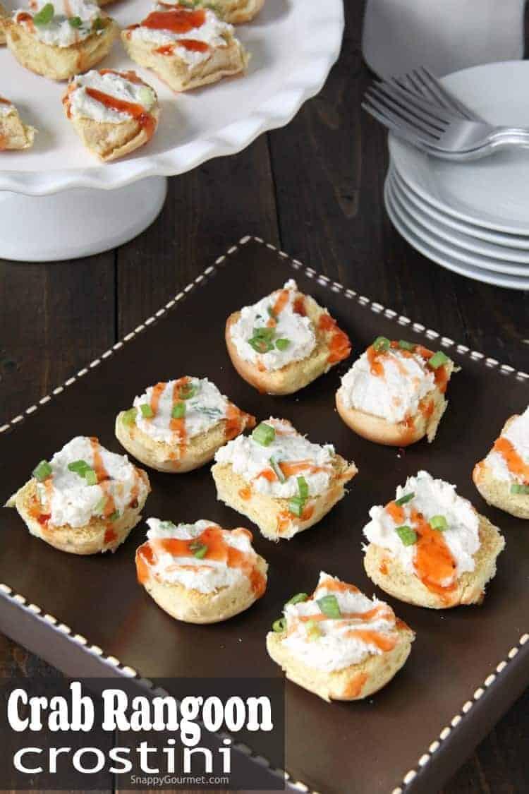 Crab Rangoon Crostini on brown serving platter