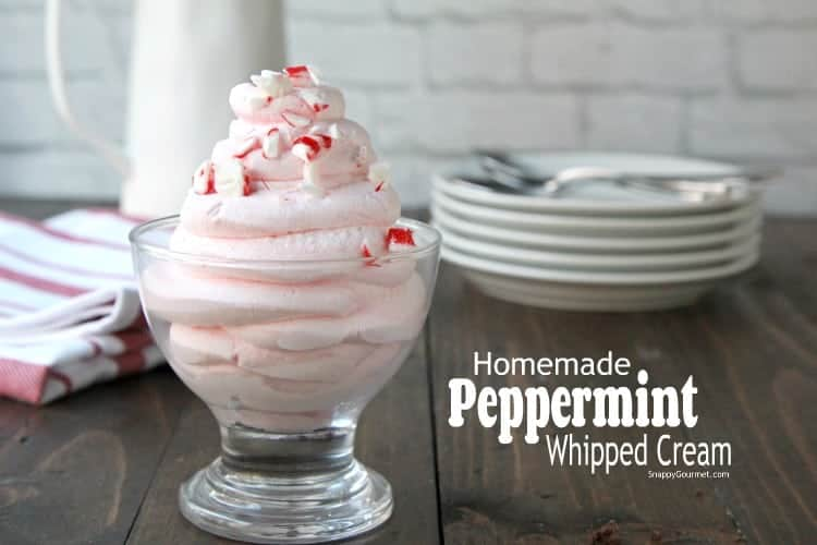 peppermint whipped cream in bowl on table