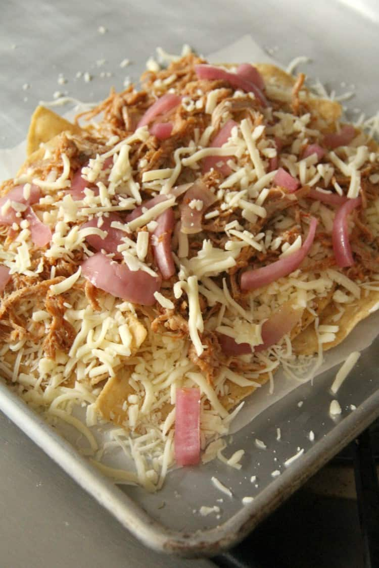 BBQ Nachos before baked in oven