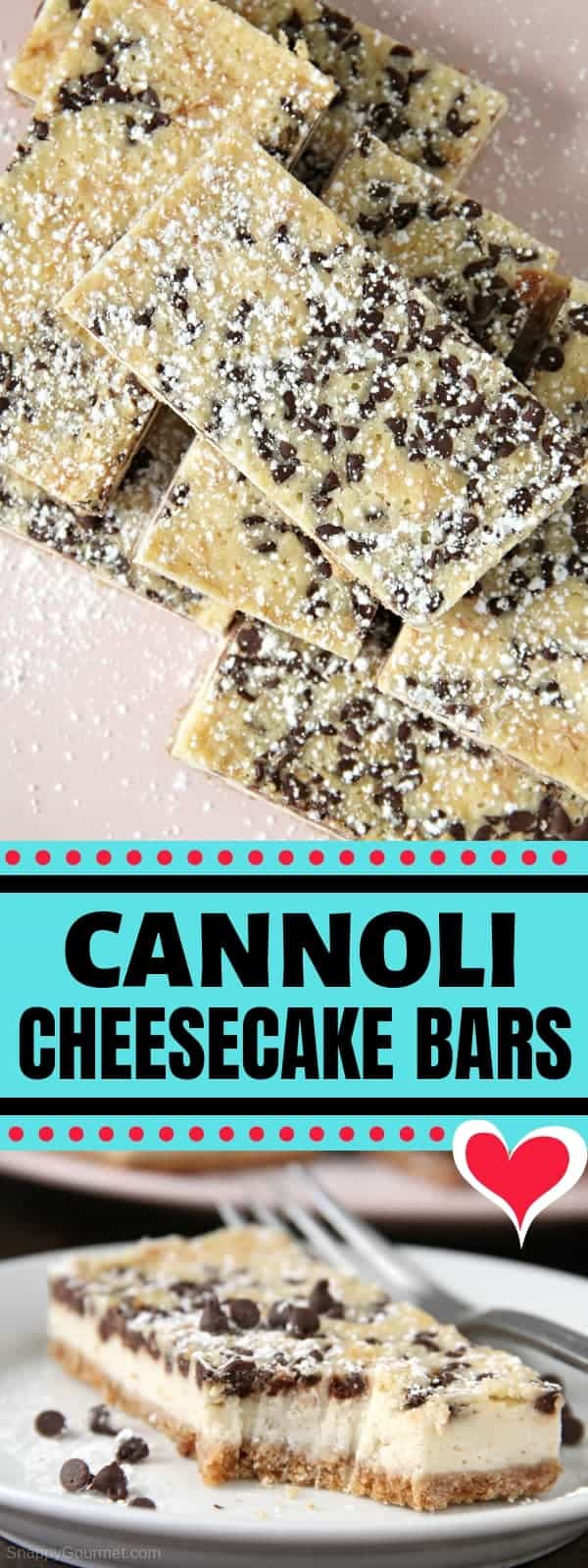 Cannoli Cheesecake Bars pin collage