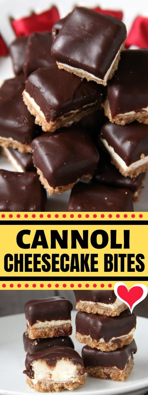 Cannoli Cheesecake Bites pin collage