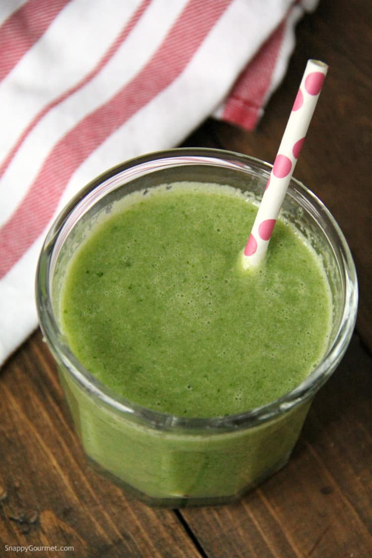 green kale smoothie in glass