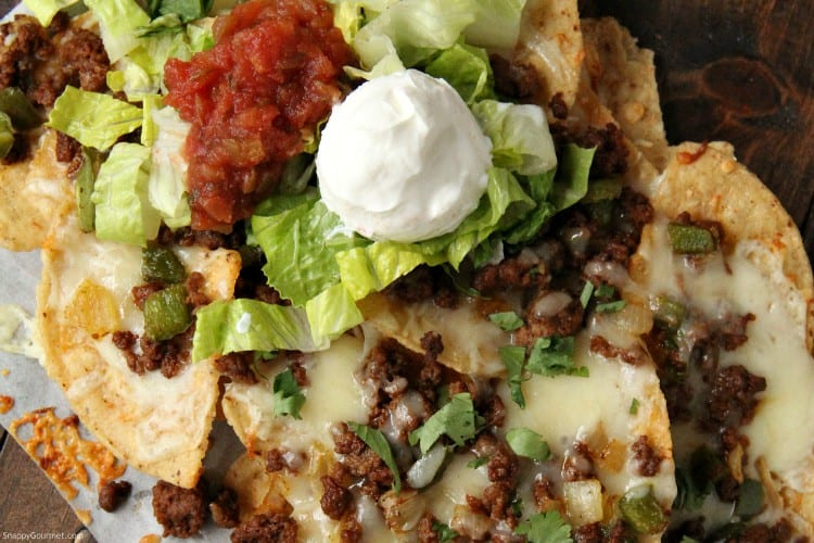 Loaded Nacho with beef, peppers, onions