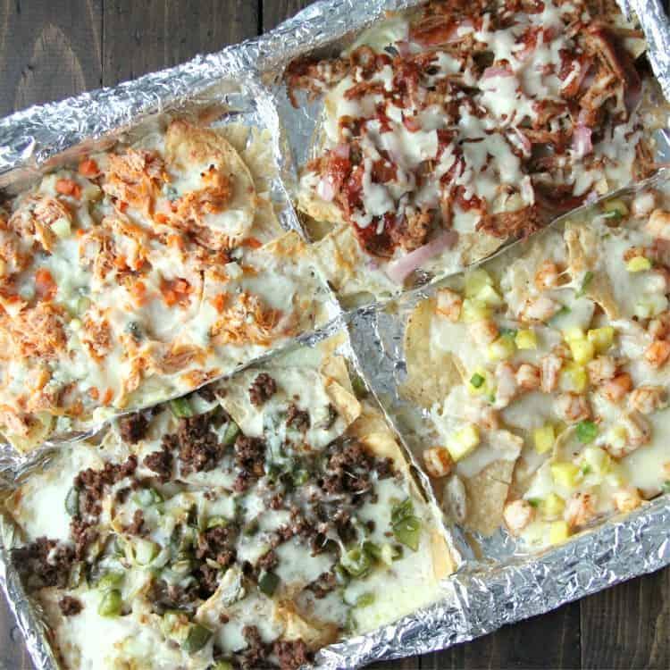 Collage of Loaded Nachos, Shrimp Nachos, BBQ Nachos, and Buffalo Chicken Nachos recipes