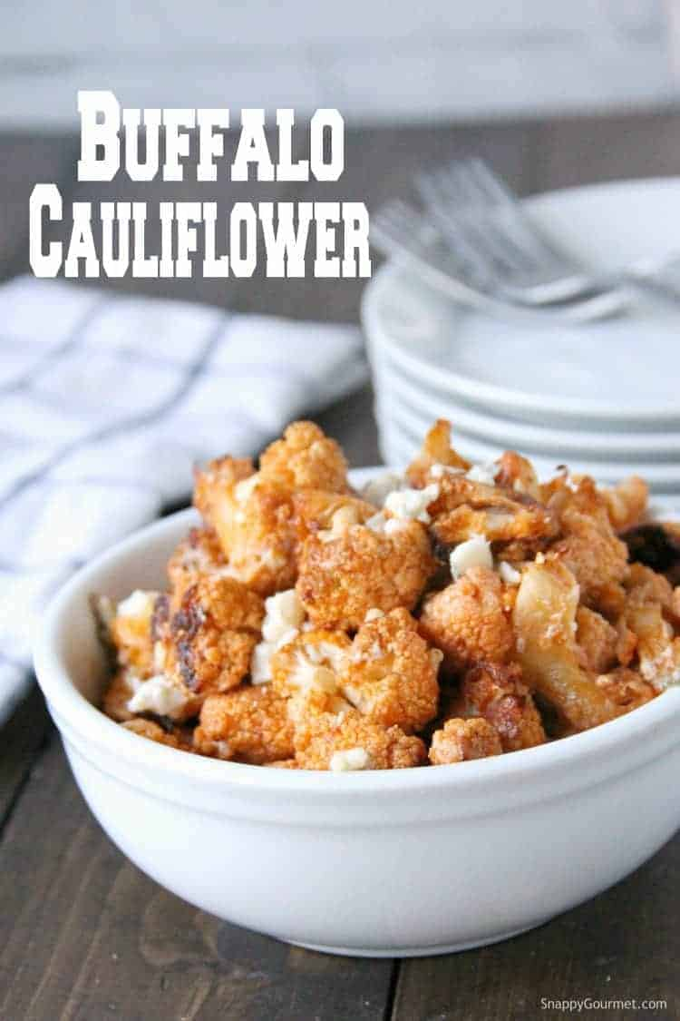buffalo cauliflower in white bowl