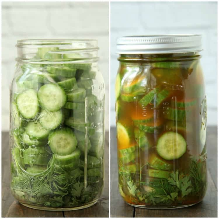 Mexican Refrigerator Pickles in jars before and after adding spices