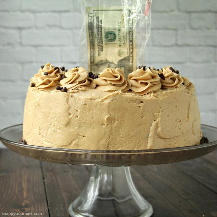 money cake with money sticking out