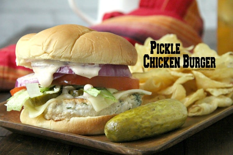 Dill Pickle Chicken Burger with pickle and chips
